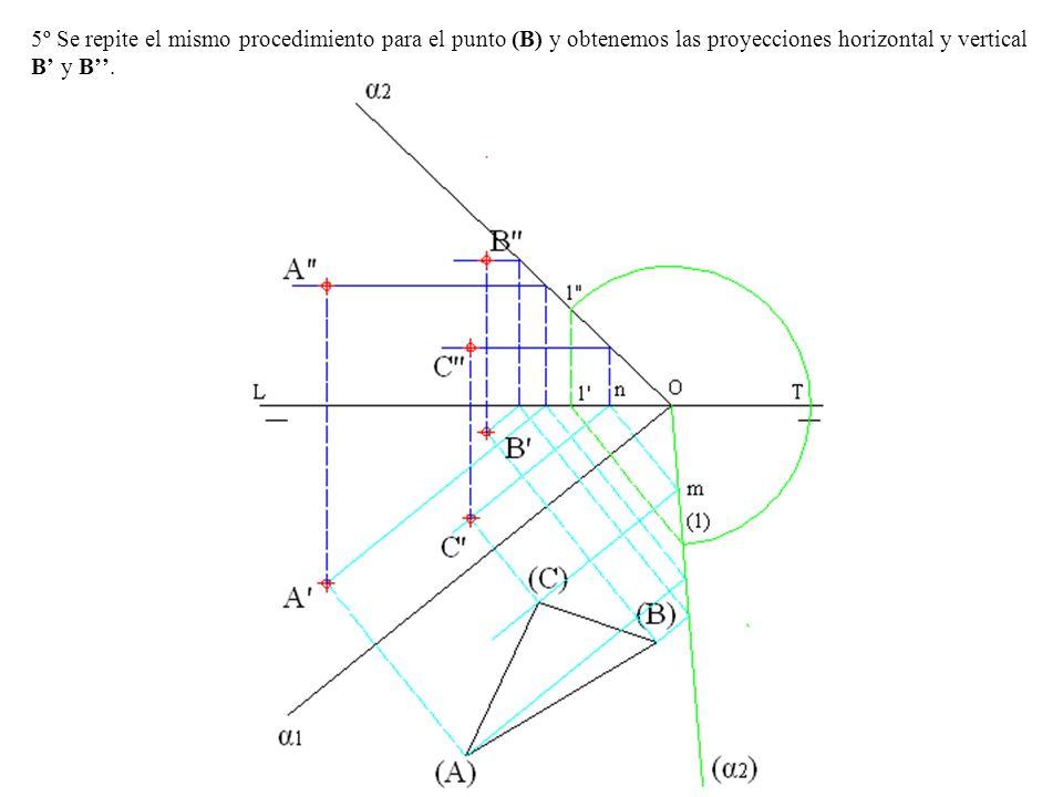 5º Se repite el mismo procedimiento para el punto (B) y obtenemos las proyecciones horizontal y vertical B y B.