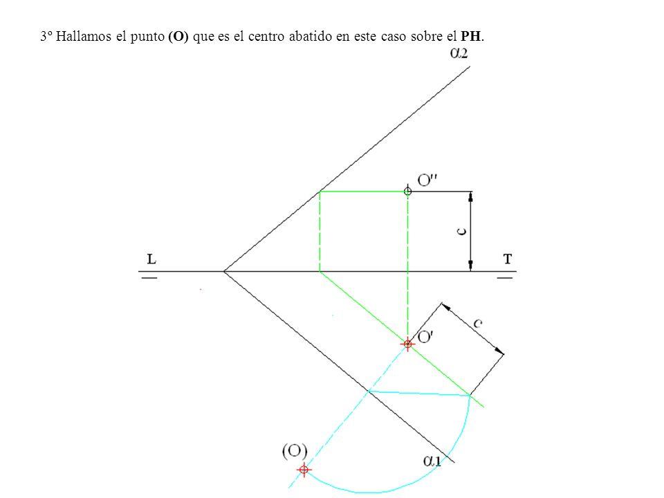 3º Hallamos el punto (O) que es el centro abatido en este caso sobre el PH.