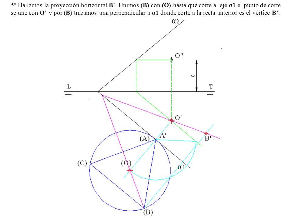 5º Hallamos la proyección horizontal B. Unimos (B) con (O) hasta que corte al eje α1 el punto de corte se une con O y por (B) trazamos una perpendicul