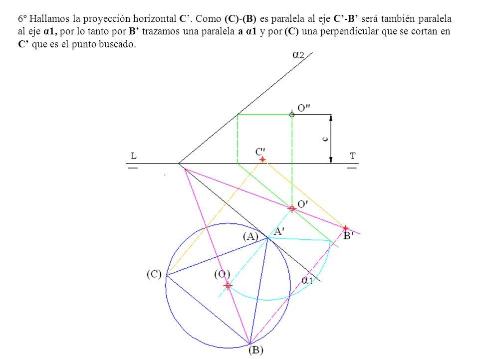 6º Hallamos la proyección horizontal C. Como (C)-(B) es paralela al eje C-B será también paralela al eje α1, por lo tanto por B trazamos una paralela