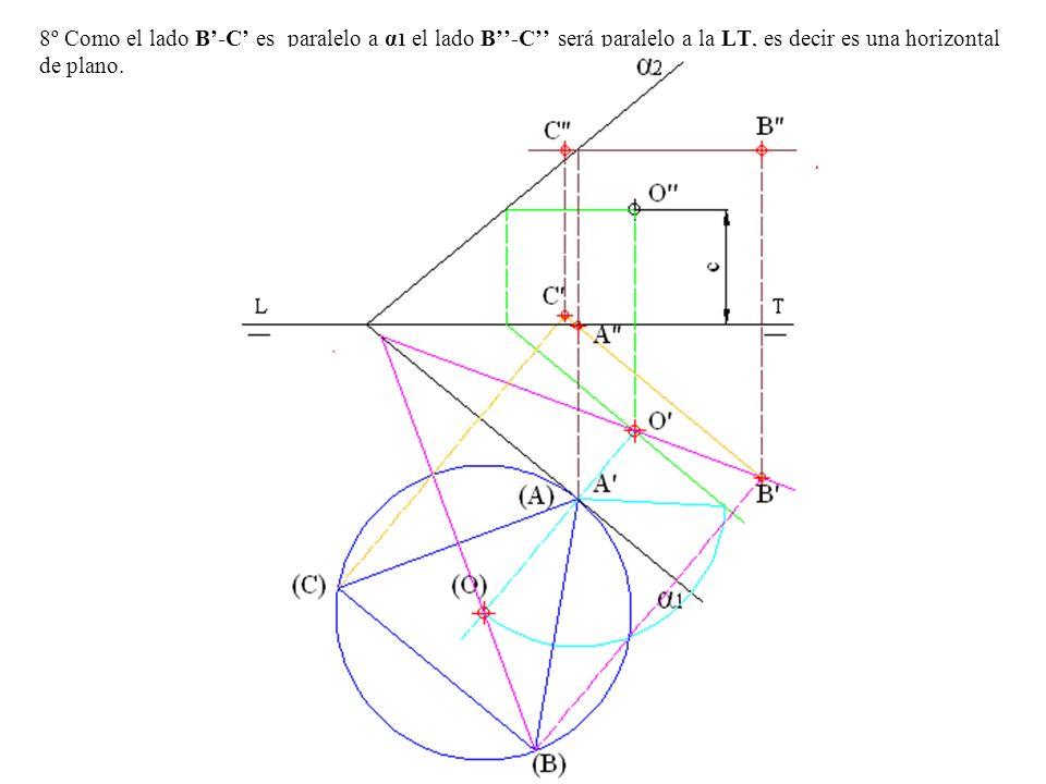 8º Como el lado B-C es paralelo a α 1 el lado B-C será paralelo a la LT, es decir es una horizontal de plano.
