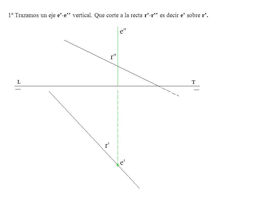1º Trazamos un eje e-e vertical. Que corte a la recta r-r es decir e sobre r.