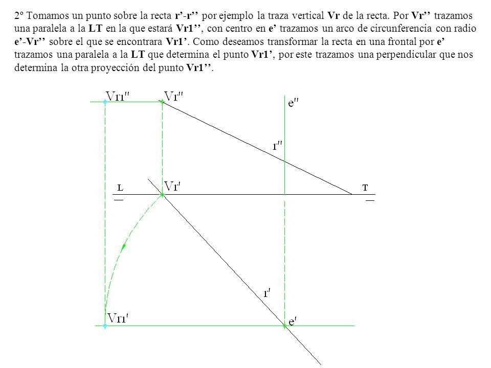 2º Tomamos un punto sobre la recta r-r por ejemplo la traza vertical Vr de la recta. Por Vr trazamos una paralela a la LT en la que estará Vr1, con ce