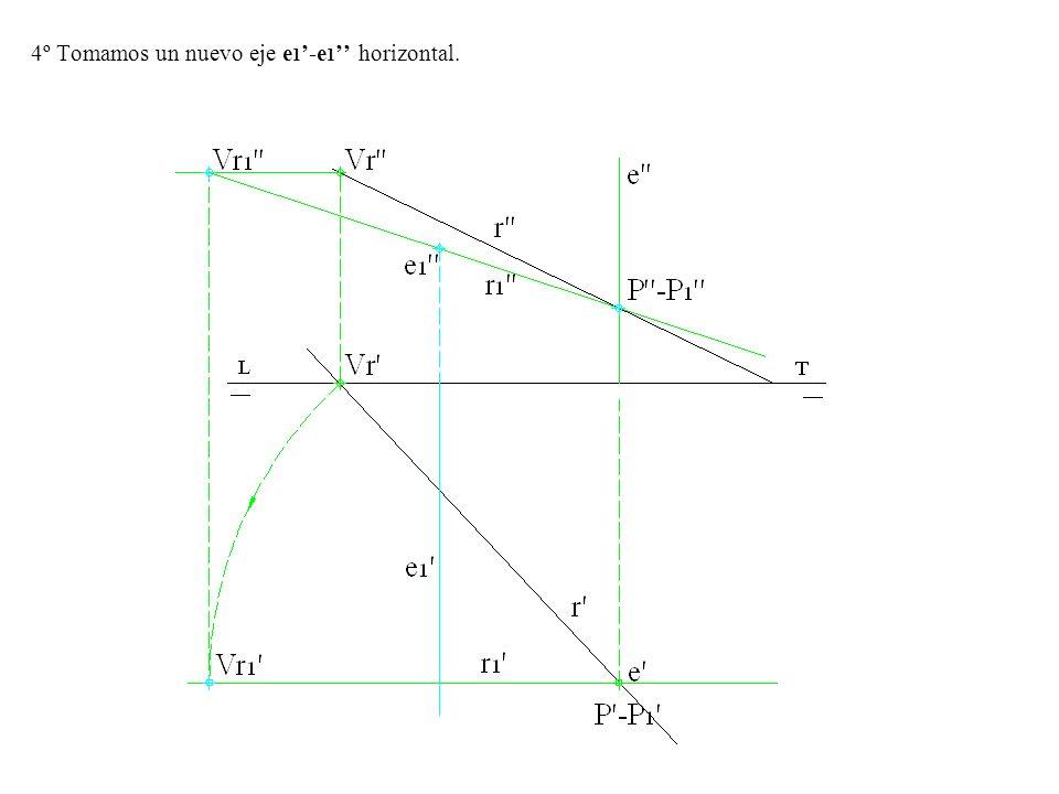 5º Con centro en e 1 y radio e 1 -Vr1 trazamos un arco de circunferencia de forma que la nueva proyección vertical de la recta r 2 sea tangente y perpendicular a la LT la proyección horizontal se encontrara sobre r 1.
