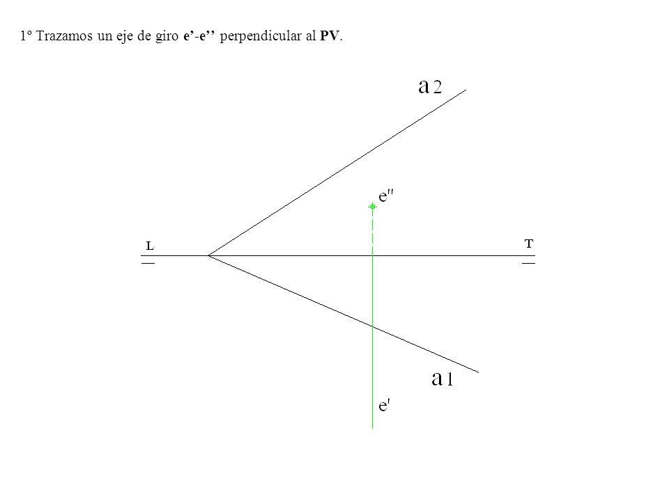 2º Trazamos una recta r-r del plano que corte al eje e-e ( Trazamos una horizontal o una frontal del plano en este caso una horizontal que su proyección vertical pasa por e).