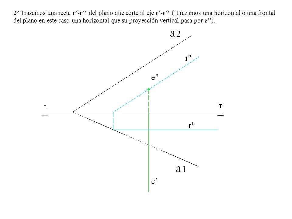 2º Trazamos una recta r-r del plano que corte al eje e-e ( Trazamos una horizontal o una frontal del plano en este caso una horizontal que su proyecci