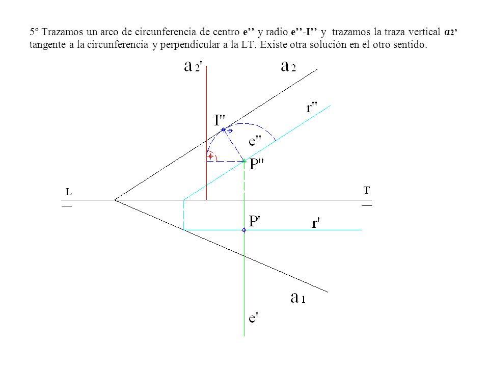 5º Trazamos un arco de circunferencia de centro e y radio e-I y trazamos la traza vertical α 2 tangente a la circunferencia y perpendicular a la LT. E