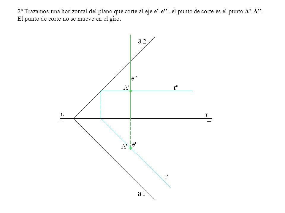 3º Desde la proyección horizontal del eje e trazamos una perpendicular a la traza α 1 y obtenemos el punto B.