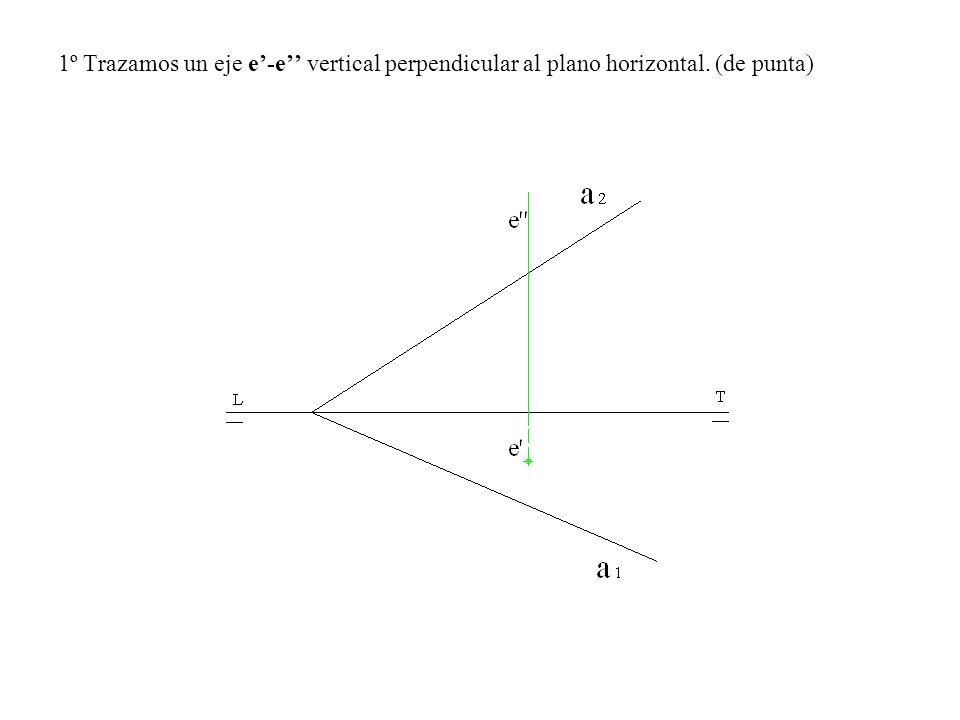 2º Trazamos una horizontal del plano que corte al eje e-e, el punto de corte es el punto A-A.