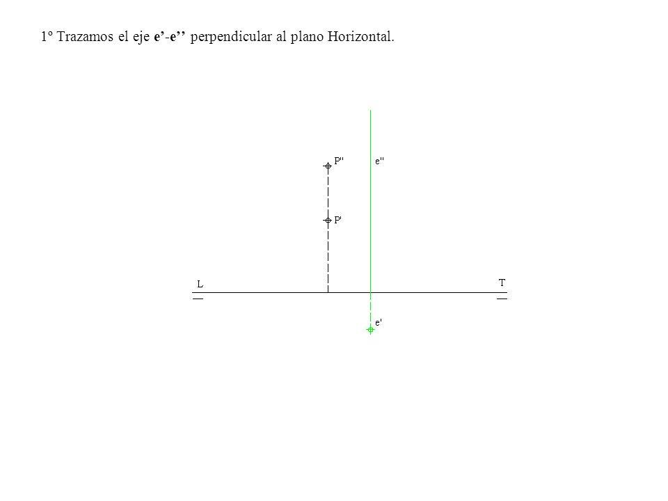 2º Por P trazamos una paralela a la LT y con centro en e trazamos un arco de circunferencia de radio e- P.