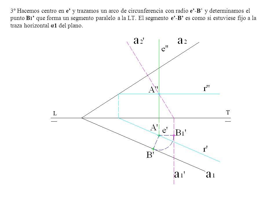 3º Hacemos centro en e y trazamos un arco de circunferencia con radio e-B y determinamos el punto B 1 que forma un segmento paralelo a la LT. El segme
