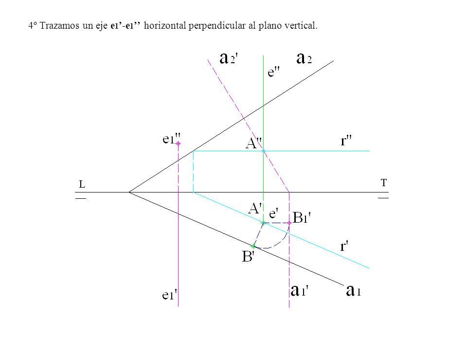 5º Hacemos centro en e 1 y trazamos un arco de circunferencia con radio e 1 -C y determinamos los puntos C 1 y C 2 por donde pasan las nuevas trazas de los planos nuevos paralelos al PH.