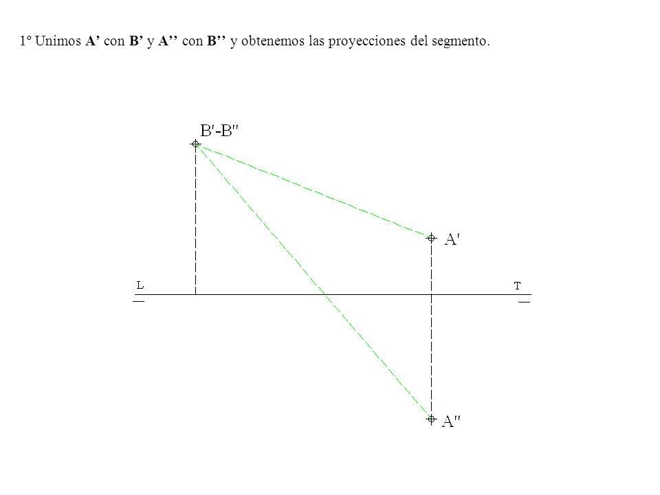 1º Unimos A con B y A con B y obtenemos las proyecciones del segmento.