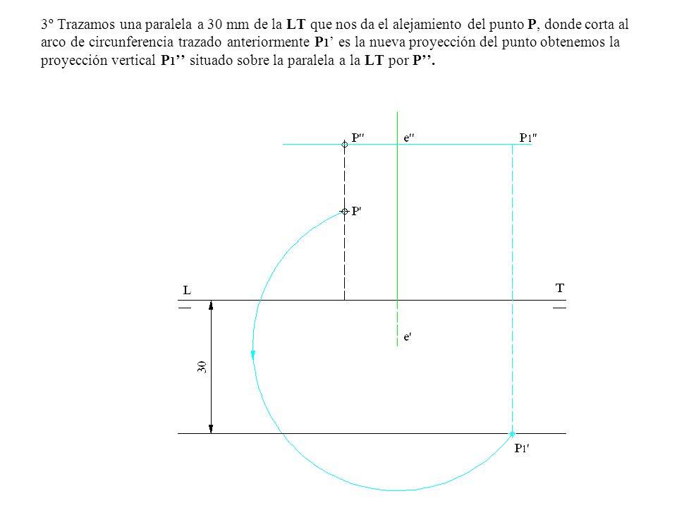 3º Trazamos una paralela a 30 mm de la LT que nos da el alejamiento del punto P, donde corta al arco de circunferencia trazado anteriormente P 1 es la