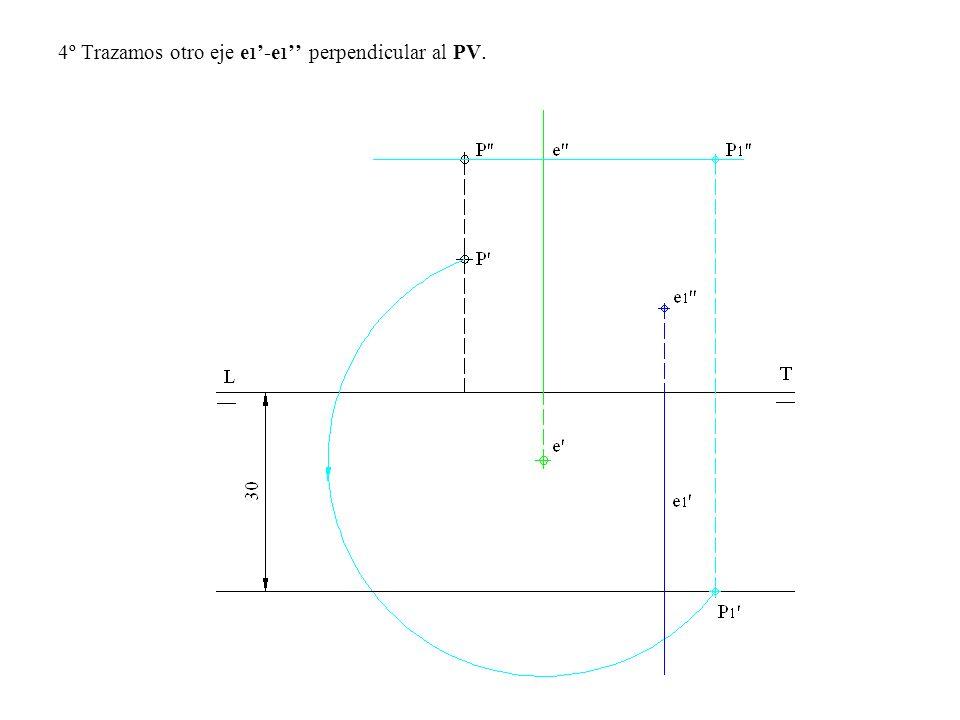 5º Con centro en e 1 trazamos un arco de circunferencia a continuación trazamos una paralela a 10 mm de la LT por debajo de esta para tener -10 de cota.