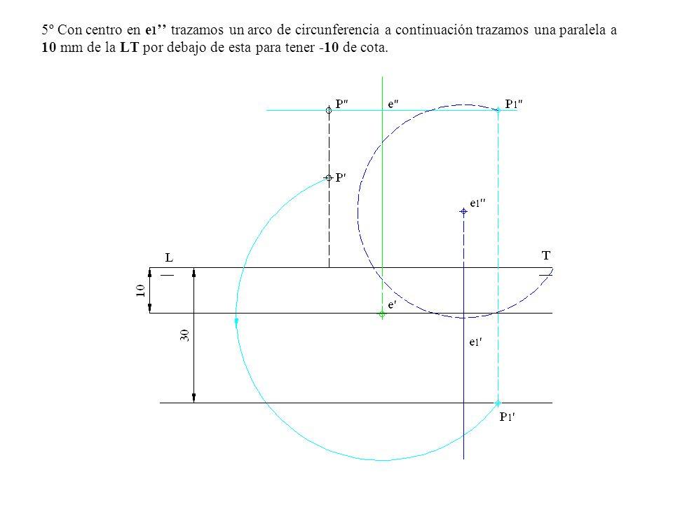 5º Con centro en e 1 trazamos un arco de circunferencia a continuación trazamos una paralela a 10 mm de la LT por debajo de esta para tener -10 de cot