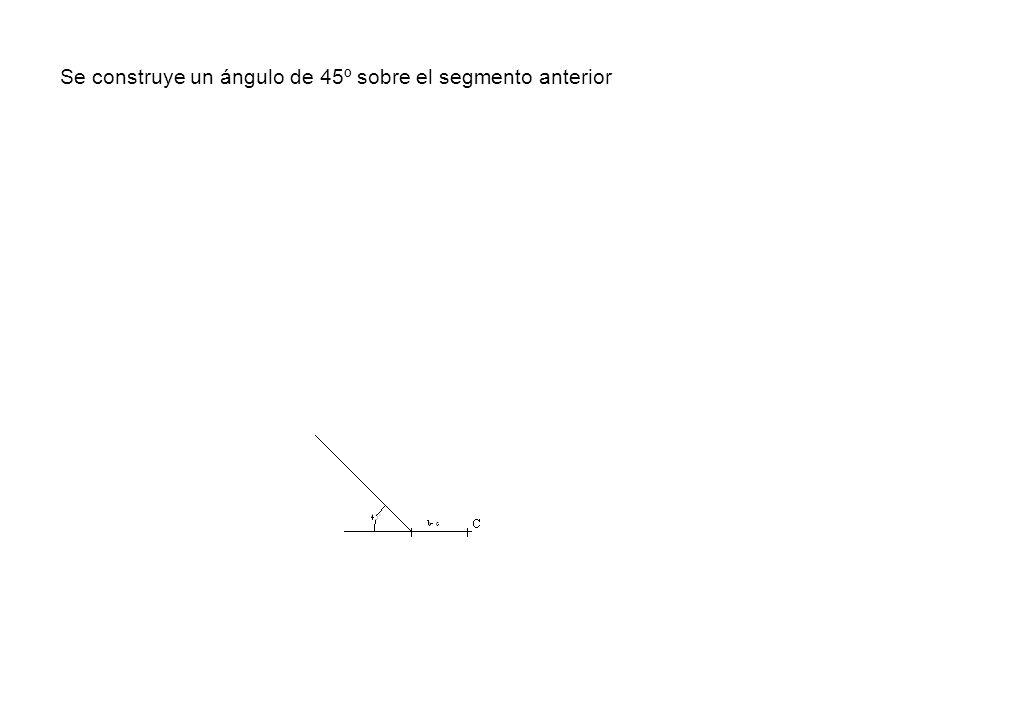 Se construye un ángulo de 45º sobre el segmento anterior