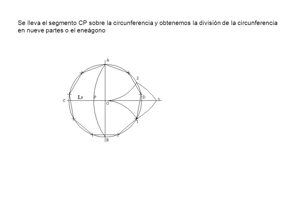 Se lleva el segmento CP sobre la circunferencia y obtenemos la división de la circunferencia en nueve partes o el eneágono