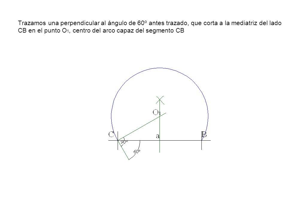 Trazamos una perpendicular al ángulo de 60º antes trazado, que corta a la mediatriz del lado CB en el punto O 1, centro del arco capaz del segmento CB