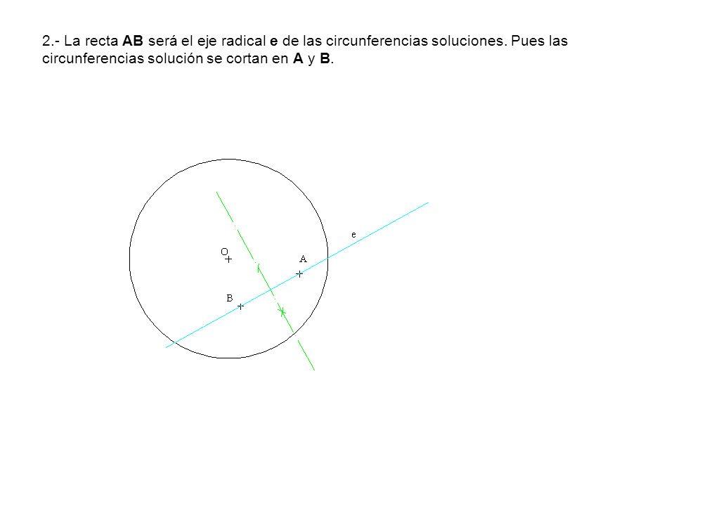2.- La recta AB será el eje radical e de las circunferencias soluciones. Pues las circunferencias solución se cortan en A y B.
