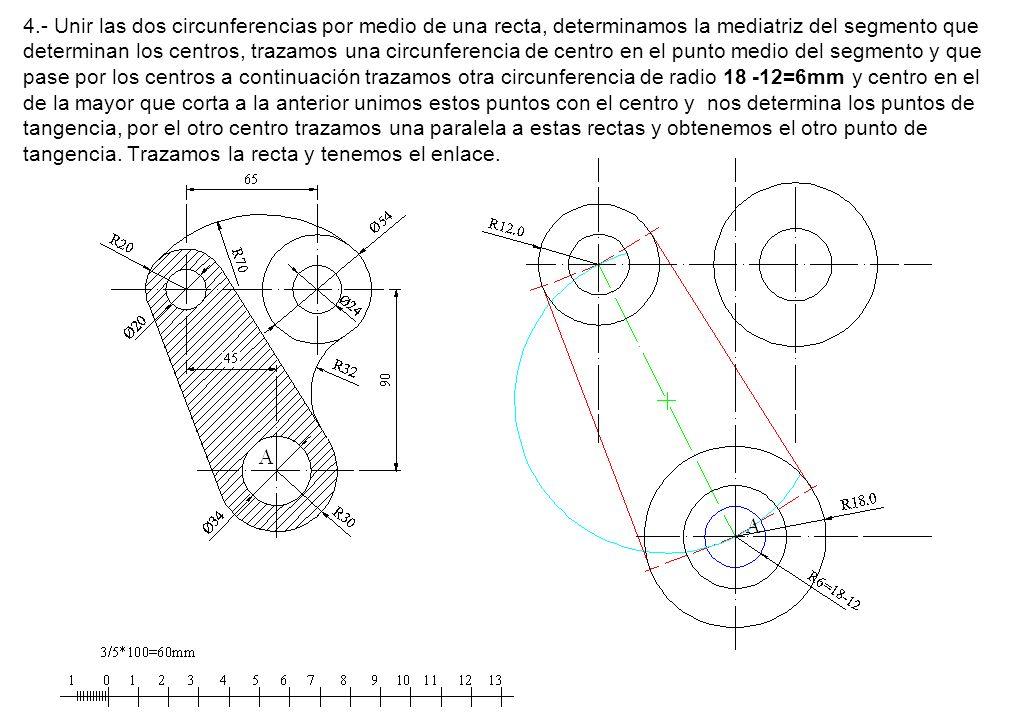 4.- Unir las dos circunferencias por medio de una recta, determinamos la mediatriz del segmento que determinan los centros, trazamos una circunferenci