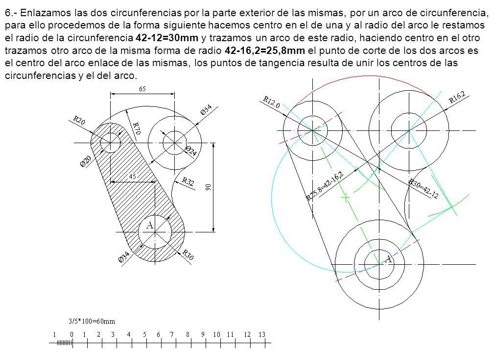 6.- Enlazamos las dos circunferencias por la parte exterior de las mismas, por un arco de circunferencia, para ello procedemos de la forma siguiente h