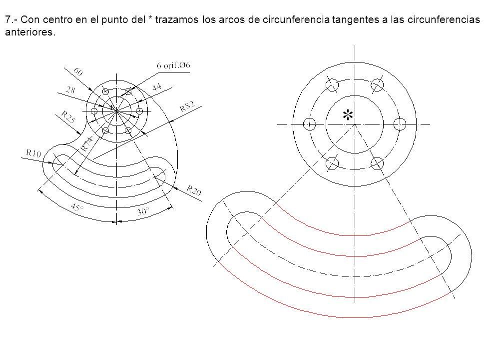 7.- Con centro en el punto del * trazamos los arcos de circunferencia tangentes a las circunferencias anteriores.