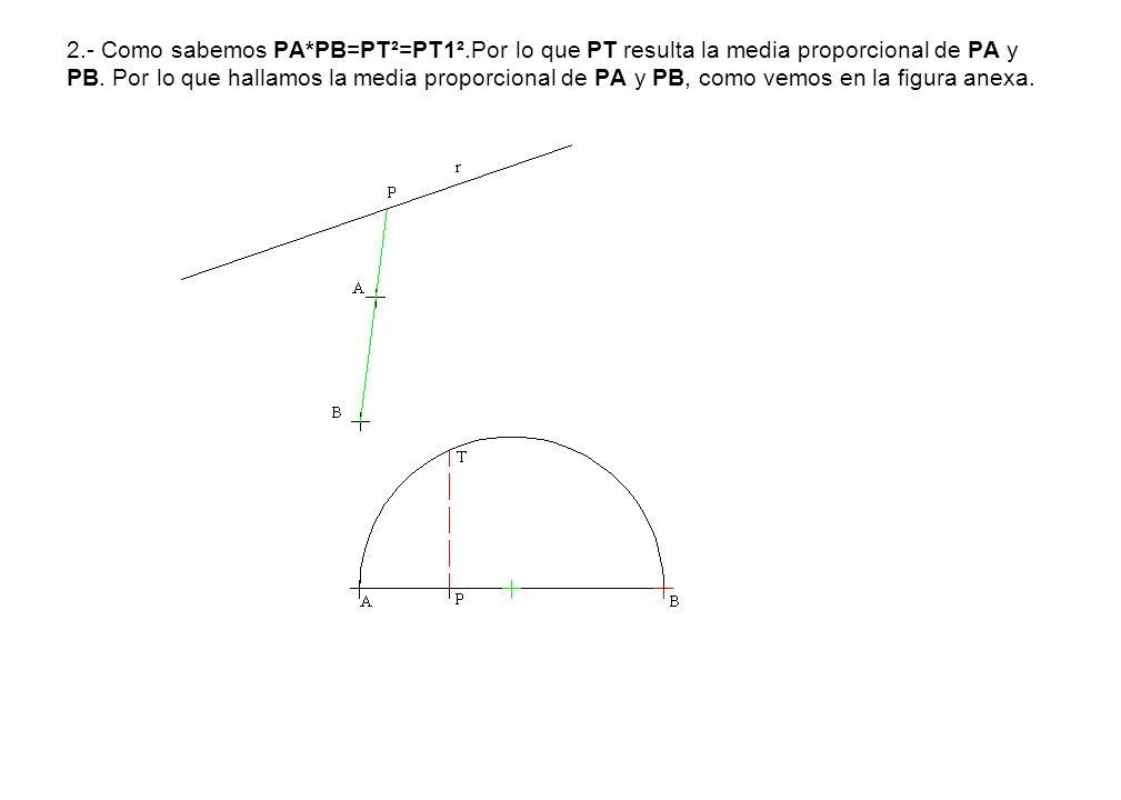 2.- Como sabemos PA*PB=PT²=PT1².Por lo que PT resulta la media proporcional de PA y PB. Por lo que hallamos la media proporcional de PA y PB, como vem