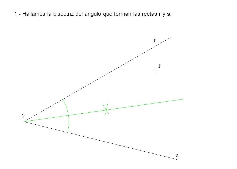 1.- Hallamos la bisectriz del ángulo que forman las rectas r y s.