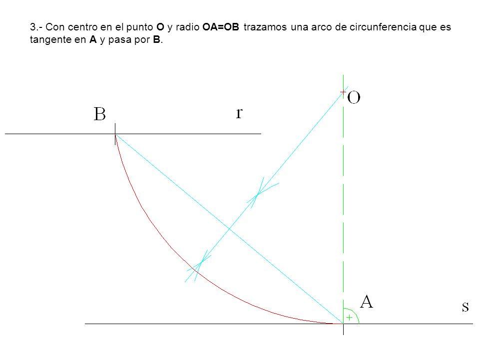 3.- Con centro en el punto O y radio OA=OB trazamos una arco de circunferencia que es tangente en A y pasa por B.