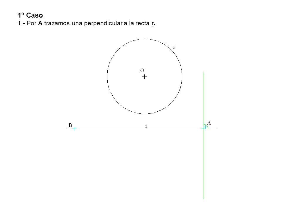 1º Caso 1.- Por A trazamos una perpendicular a la recta r.