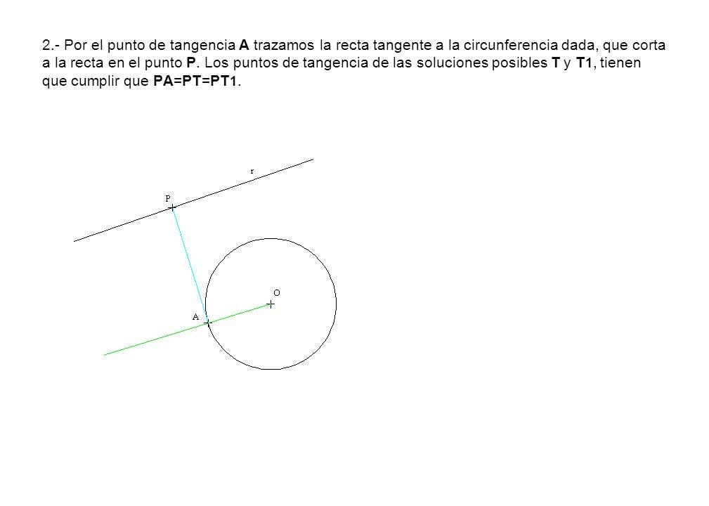 2.- Por el punto de tangencia A trazamos la recta tangente a la circunferencia dada, que corta a la recta en el punto P. Los puntos de tangencia de la