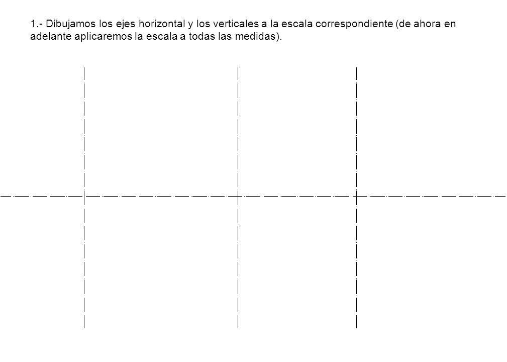 1.- Dibujamos los ejes horizontal y los verticales a la escala correspondiente (de ahora en adelante aplicaremos la escala a todas las medidas).