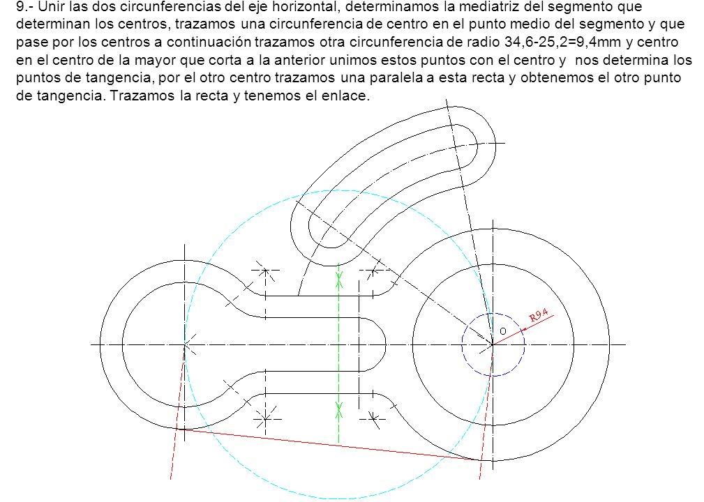 9.- Unir las dos circunferencias del eje horizontal, determinamos la mediatriz del segmento que determinan los centros, trazamos una circunferencia de