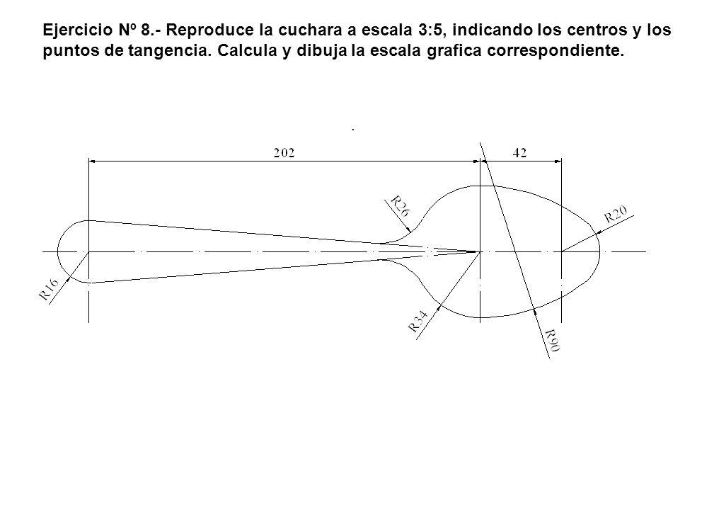 Ejercicio Nº 8.- Reproduce la cuchara a escala 3:5, indicando los centros y los puntos de tangencia. Calcula y dibuja la escala grafica correspondient