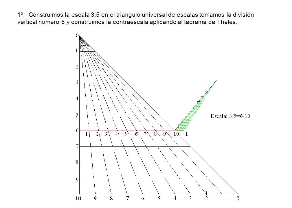 1º.- Construimos la escala 3:5 en el triangulo universal de escalas tomamos la división vertical numero 6 y construimos la contraescala aplicando el t