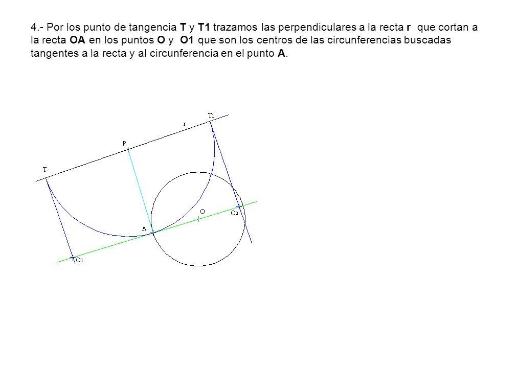 4.- Por los punto de tangencia T y T1 trazamos las perpendiculares a la recta r que cortan a la recta OA en los puntos O y O1 que son los centros de l