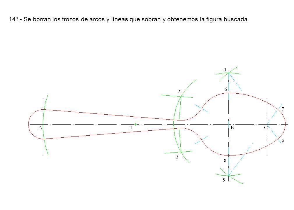 14º.- Se borran los trozos de arcos y líneas que sobran y obtenemos la figura buscada.