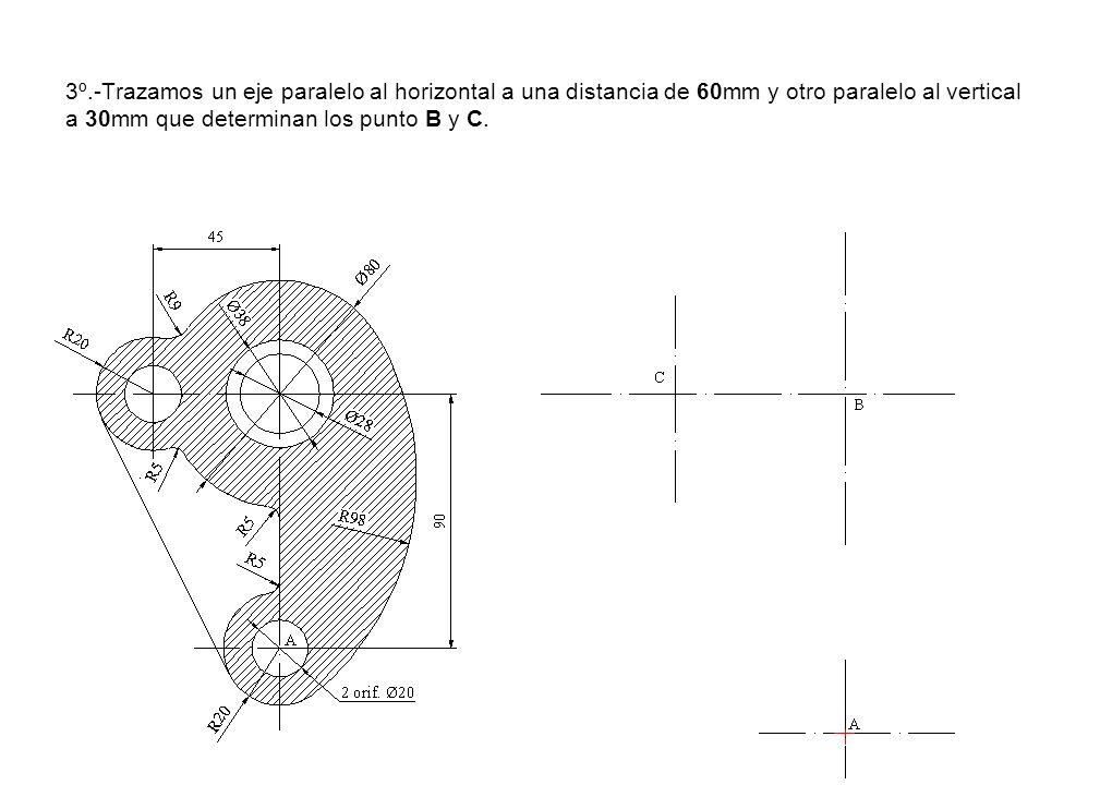 3º.-Trazamos un eje paralelo al horizontal a una distancia de 60mm y otro paralelo al vertical a 30mm que determinan los punto B y C.