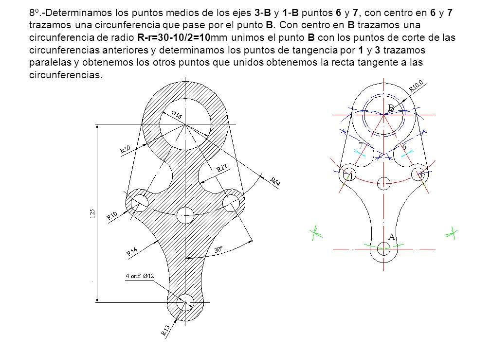 8º.-Determinamos los puntos medios de los ejes 3-B y 1-B puntos 6 y 7, con centro en 6 y 7 trazamos una circunferencia que pase por el punto B. Con ce