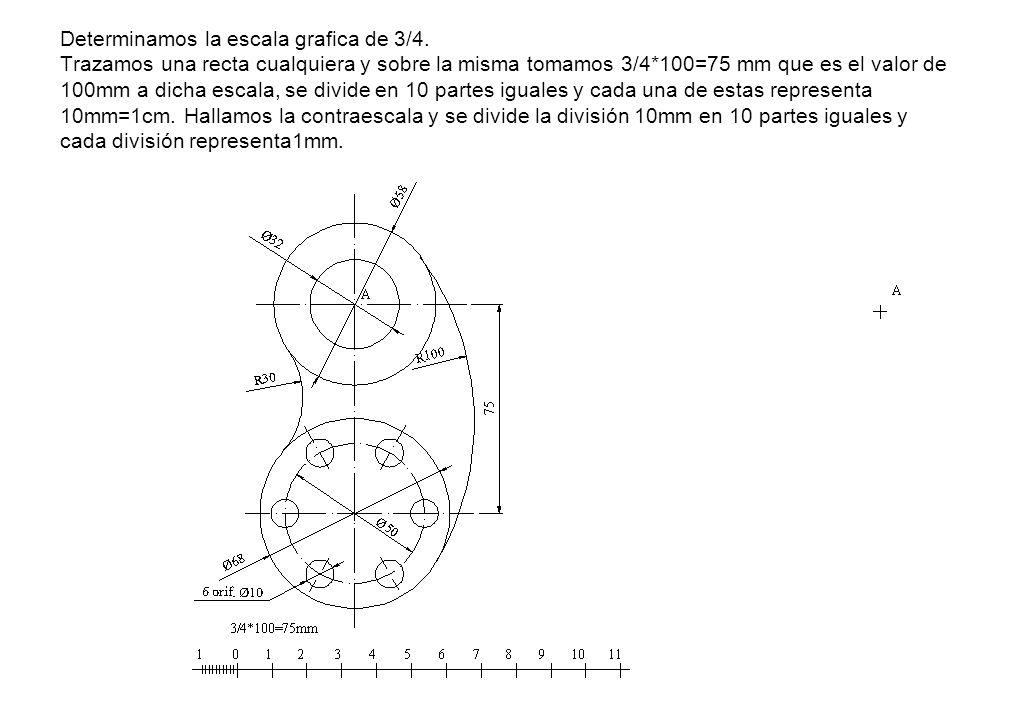 Determinamos la escala grafica de 3/4. Trazamos una recta cualquiera y sobre la misma tomamos 3/4*100=75 mm que es el valor de 100mm a dicha escala, s