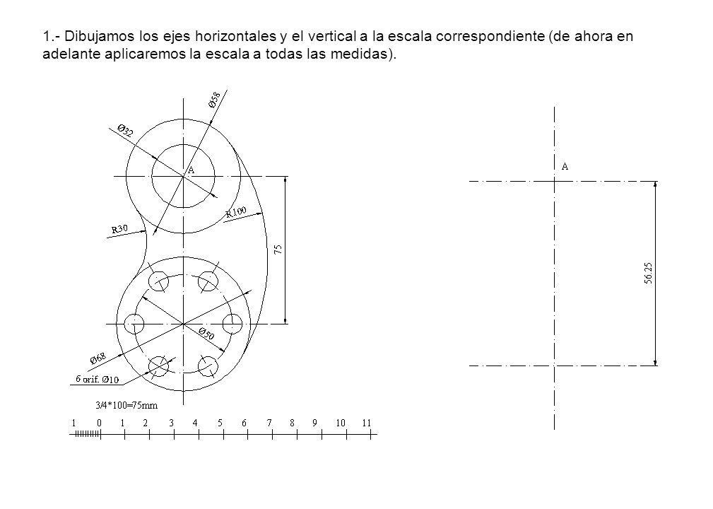 1.- Dibujamos los ejes horizontales y el vertical a la escala correspondiente (de ahora en adelante aplicaremos la escala a todas las medidas).