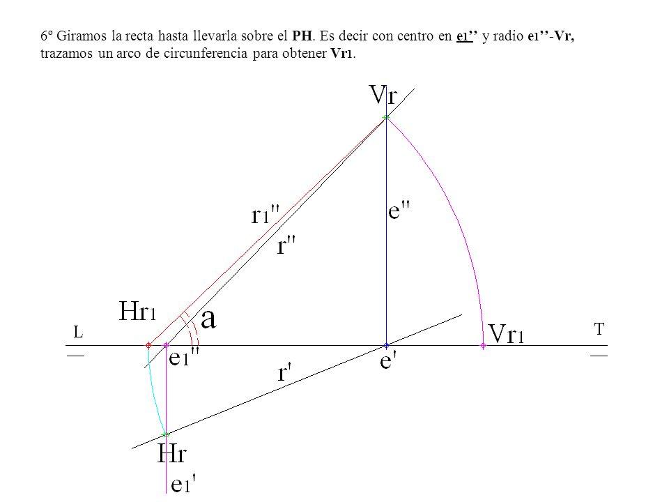 6º Giramos la recta hasta llevarla sobre el PH. Es decir con centro en e 1 y radio e 1 -Vr, trazamos un arco de circunferencia para obtener Vr 1.