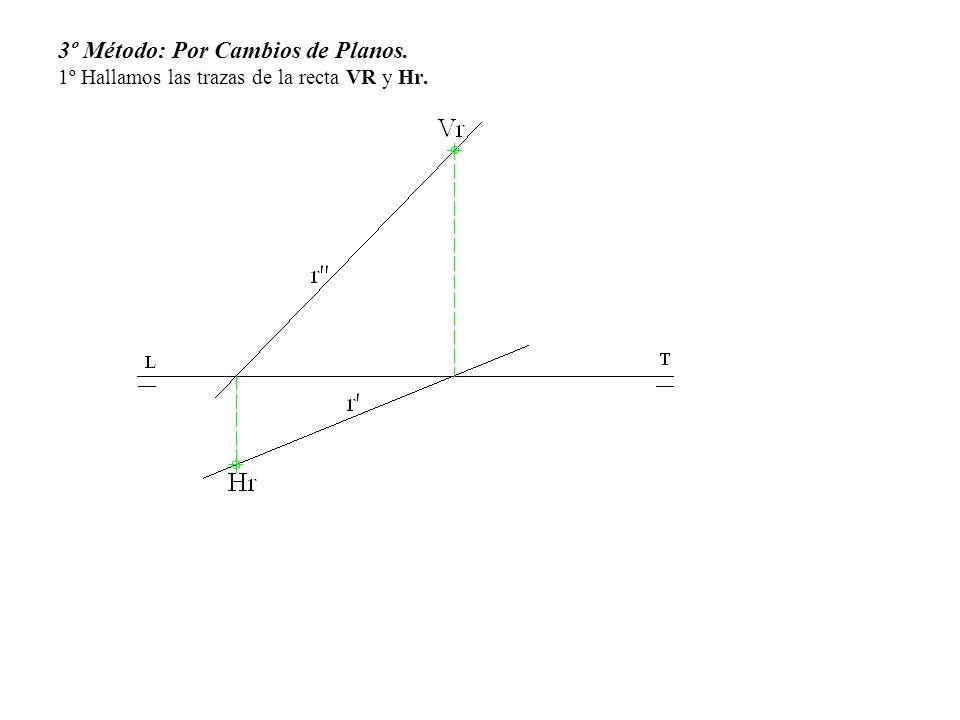 3º Método: Por Cambios de Planos. 1º Hallamos las trazas de la recta VR y Hr.