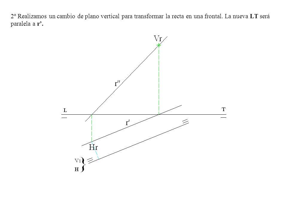 2º Realizamos un cambio de plano vertical para transformar la recta en una frontal. La nueva LT será paralela a r.