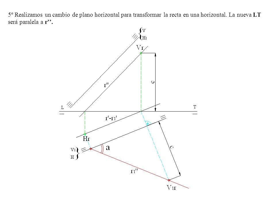 5º Realizamos un cambio de plano horizontal para transformar la recta en una horizontal. La nueva LT será paralela a r.