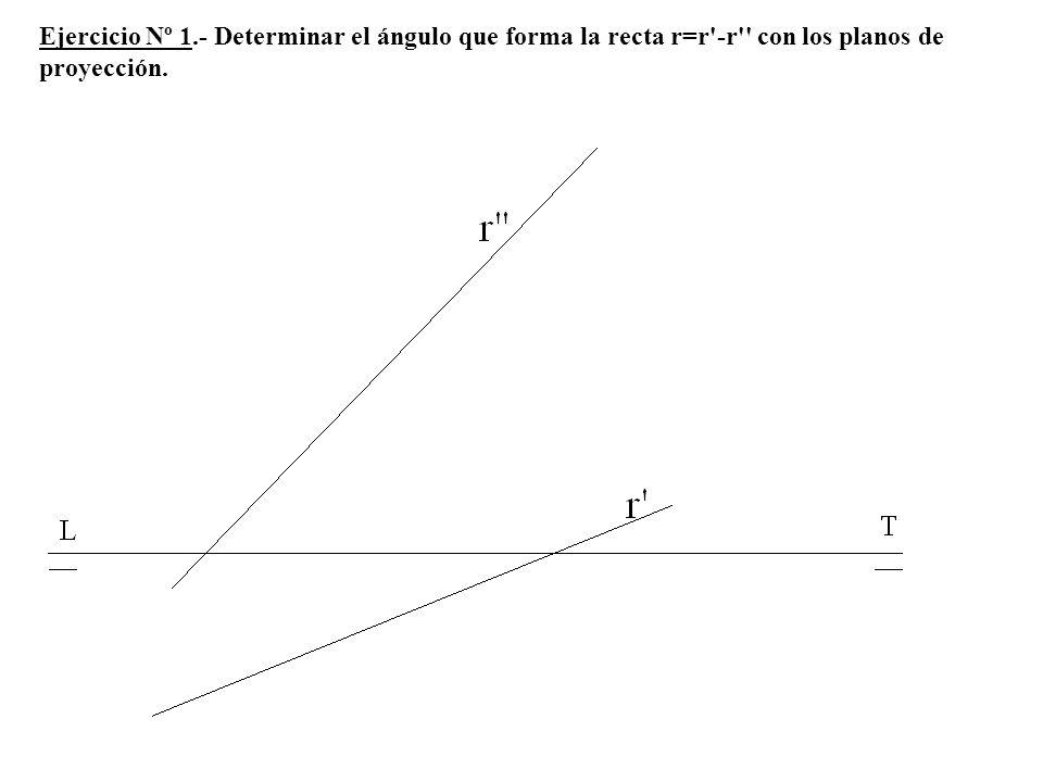 Ejercicio Nº 1.- Determinar el ángulo que forma la recta r=r'-r'' con los planos de proyección.