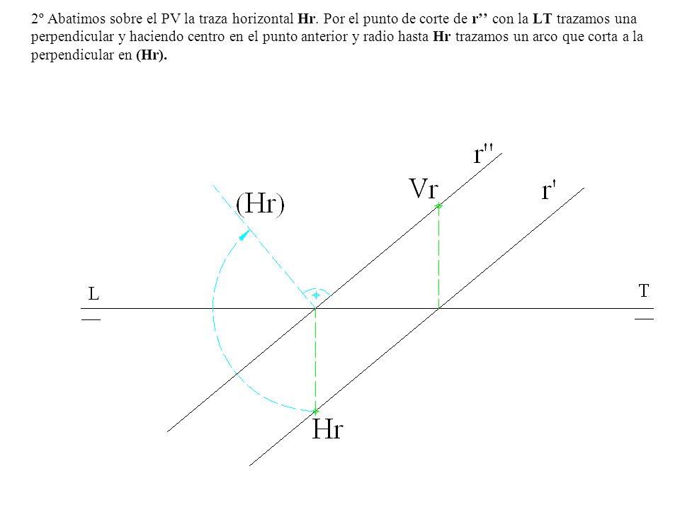 2º Abatimos sobre el PV la traza horizontal Hr. Por el punto de corte de r con la LT trazamos una perpendicular y haciendo centro en el punto anterior