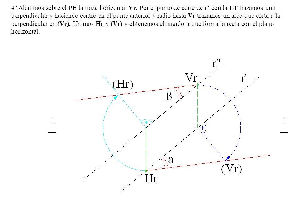 4º Abatimos sobre el PH la traza horizontal Vr. Por el punto de corte de r con la LT trazamos una perpendicular y haciendo centro en el punto anterior