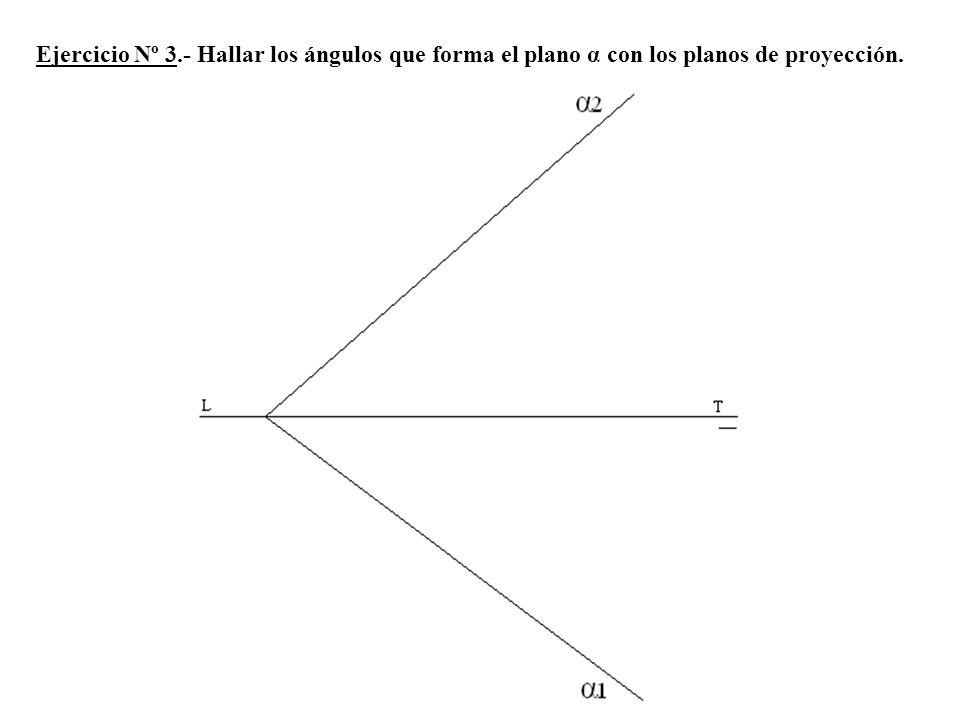 Ejercicio Nº 3.- Hallar los ángulos que forma el plano α con los planos de proyección.